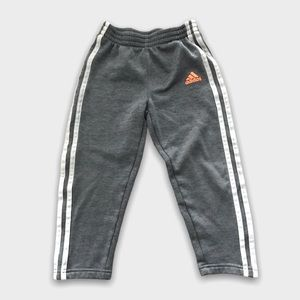 Adidas Gray Striped Athletic Track Pants